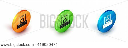 Isometric Car Tire Hanging On Rope Icon Isolated On White Background. Playground Equipment With Hang