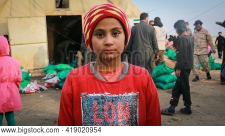 Syrian Refugee Children In The Camp, Refugees Feel Cold As A Result Of A Cold Wave That Hits The Syr