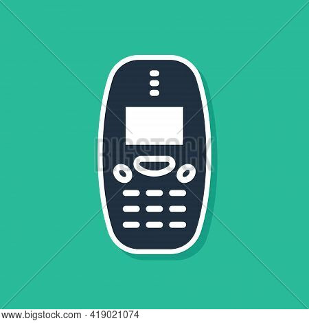 Blue Old Vintage Keypad Mobile Phone Icon Isolated On Green Background. Retro Cellphone Device. Vint