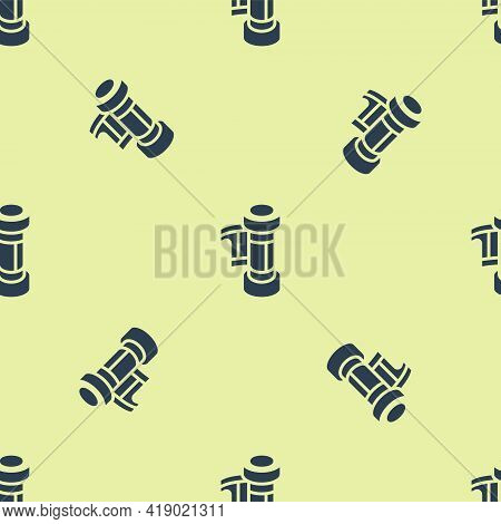 Blue Camera Vintage Film Roll Cartridge Icon Isolated Seamless Pattern On Yellow Background. 35mm Fi