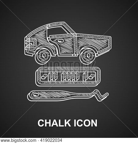 Chalk Car Theft Icon Isolated On Black Background. Vector