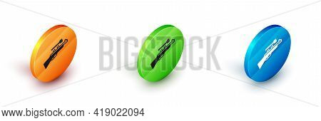 Isometric Sniper Rifle With Scope Icon Isolated On White Background. Circle Button. Vector