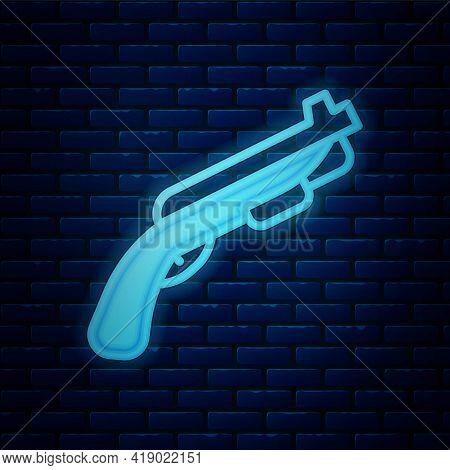 Glowing Neon Police Shotgun Icon Isolated On Brick Wall Background. Hunting Shotgun. Vector