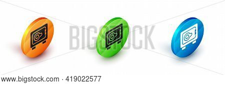 Isometric Safe Icon Isolated On White Background. The Door Safe A Bank Vault With A Combination Lock