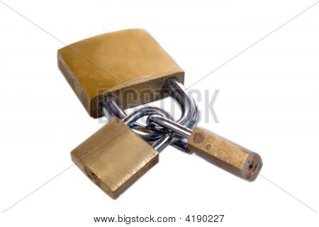 Combination Of Three Old Padlocks