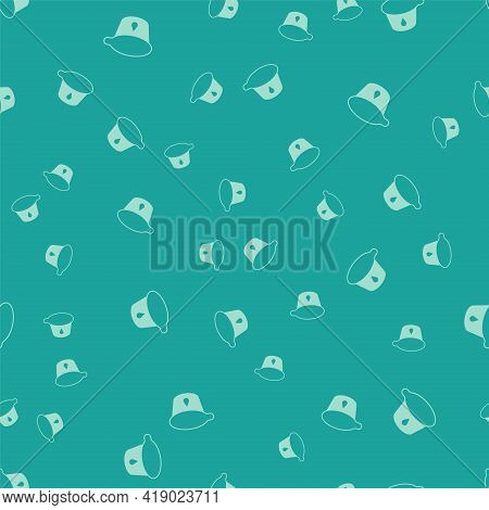 Green Yogurt Container Icon Isolated Seamless Pattern On Green Background. Yogurt In Plastic Cup. Ve