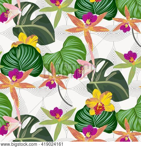 Tropical Flora And Leaves Vector Pattern, Repeating Monstera Leaves, Orchid Flower, And Calathea Orb