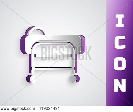 Paper Cut Stretcher Icon Isolated On Grey Background. Patient Hospital Medical Stretcher. Paper Art