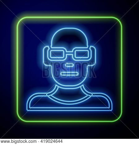 Glowing Neon Poor Eyesight And Corrected Vision With Optical Glasses Icon Isolated On Blue Backgroun