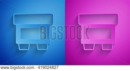 Paper Cut Fuse Of Electrical Protection Component Icon Isolated On Blue And Purple Background. Melti