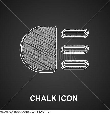 Chalk High Beam Icon Isolated On Black Background. Car Headlight. Vector