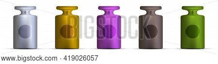 Balance Scale Calibration Weights Of Different Colors. 3d Realistic Vector Illustration Isolated On