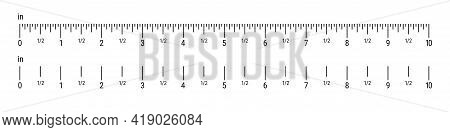 Inch Ruler Scale. 10 Inches Scale. Flat Style Vector Illustration Isolated On White Background.