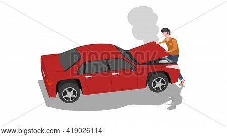 Driving Man With Open Car Hood. Smoke Or Water Vapor Coming Out Of The Engine. Red Cars That Are Par