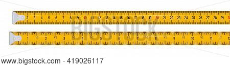 Tape Measure 30 Centimeters And 12 Inches. 3d Realistic Vector Illustration Isolated On White Backgr