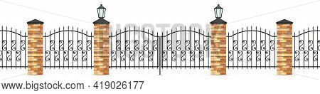 Wrought Iron Fence Panels And Gates. Brick Posts And Street Lights. Spear Fence Bars And Curved Figu