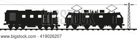 Diesel Locomotive And Electric Locomotive. Flat Style Vector Illustration Isolated On White Backgrou