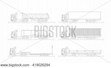 A Set Of Images Of A Modern European Truck With Different Variants Of Semi-trailers. Flat Vector Ill