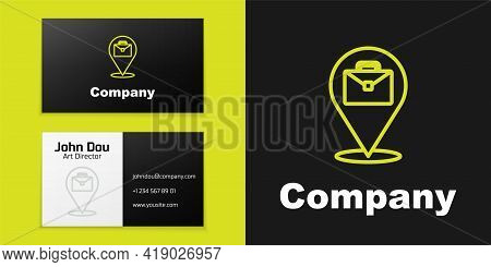 Logotype Line Online Working Icon Isolated On Black Background. Freelancer Man Working On Laptop At