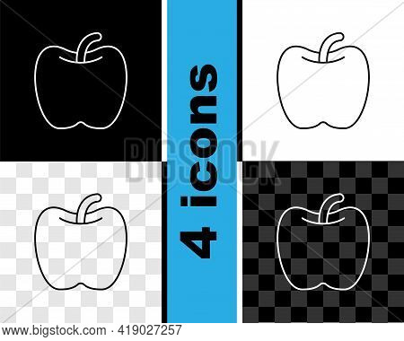 Set Line Apple Icon Isolated On Black And White, Transparent Background. Excess Weight. Healthy Diet