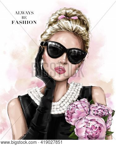 Beautiful Blond Hair Girl In Sunglasses. Fashion Girl With Hair Bun. Pretty Woman With Peonies. Styl