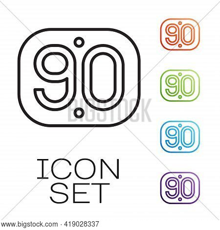 Black Line 90s Retro Icon Isolated On White Background. Nineties Poster. Set Icons Colorful. Vector