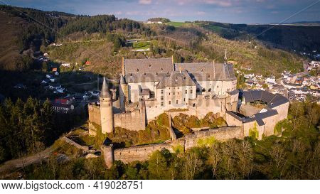 Ancient Vianden Castle In Luxemburg - Aerial Photography