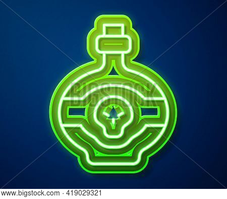 Glowing Neon Line Poison In Bottle Icon Isolated On Blue Background. Bottle Of Poison Or Poisonous C