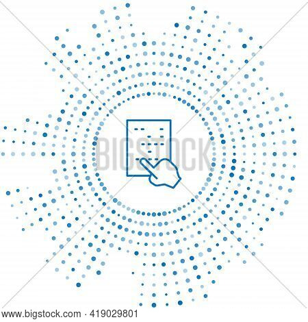 Blue Line Braille Icon Isolated On White Background. Finger Drives On Points. Writing Signs System F