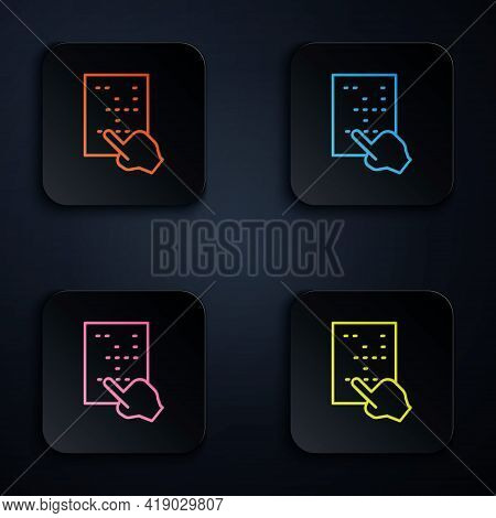 Color Neon Line Braille Icon Isolated On Black Background. Finger Drives On Points. Writing Signs Sy