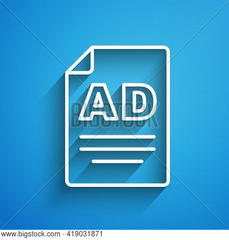 White Line Advertising Icon Isolated On Blue Background. Concept Of Marketing And Promotion Process.