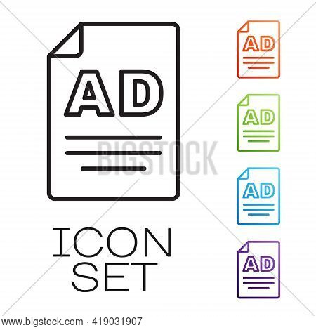 Black Line Advertising Icon Isolated On White Background. Concept Of Marketing And Promotion Process