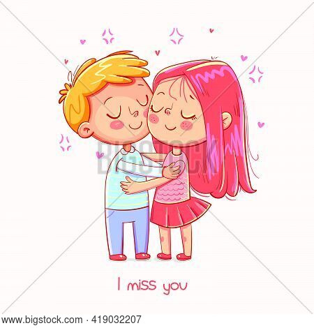 Couple Hugging Tenderly. Greeting Card For Valentines Day. Funny Cartoon Character. Vector Illustrat