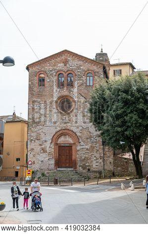 Perugia,italy May 01 2021:church Of Sant Agistino In Perugia Near Univesita