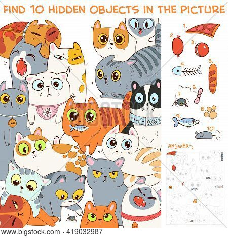 Find 10 Hidden Objects In The Picture. Group Of Different Cats. Puzzle Hidden Items. Funny Cartoon C