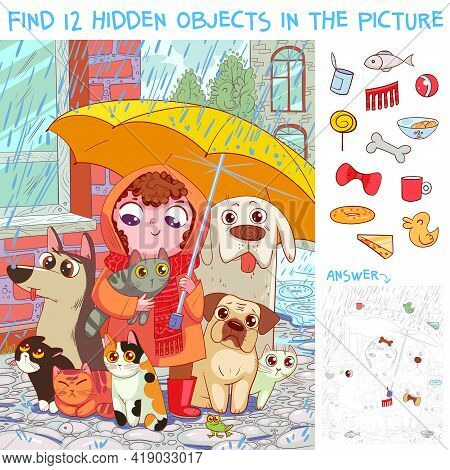 Find 12 Hidden Objects In The Picture. Under Umbrella. Little Girl Protects Homeless Pets From Rain.