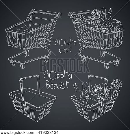Shopping Basket And Shopping Cart. Empty And Full. Drawing On A Blackboard. Vector Illustration