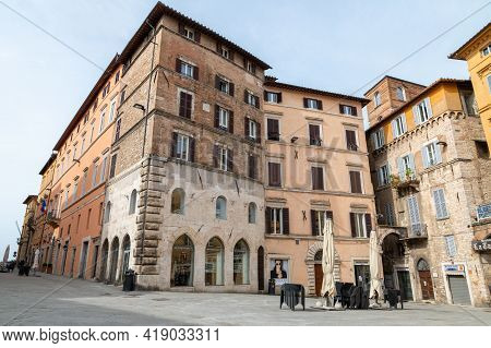 Perugia,italy May 01 2021:square Of Repubblic In The Center Of Perugia