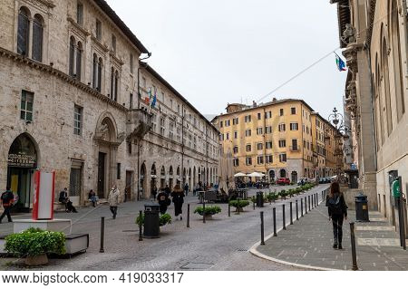 Perugia,italy May 01 2021:square Of Giacomo Matteotti In The Center Of Perugia