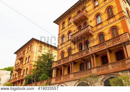 Perugia,italy May 01 2021:particular Building With Ancient Architecture In The City Of Perugia