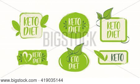 Set The Keto Diet Icons. Vector Illustration Of An Vintage. Sign Of The Ketogenic Diet. For Keto Die