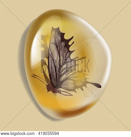 Amber Stone With Insect Isolated On White Background. Butterfly Modern Insect Frozen In Amber. Petro