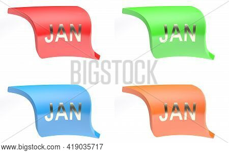 Jan For January Colorful Icon Set - 3d Rendering Illustration