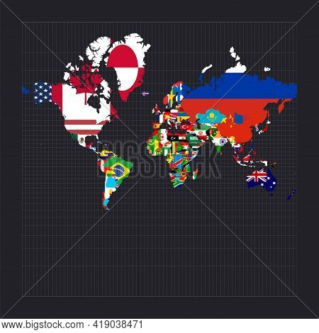 World Map With Flags. Spherical Mercator Projection. Map Of The World With Meridians On Dark Backgro