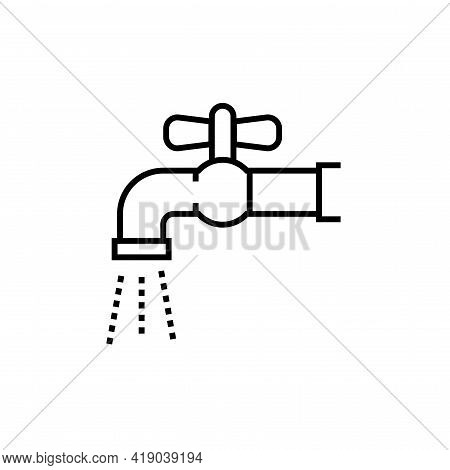Faucet With Water Icon. Housekeeping Sign Symbol Vector Illustration.