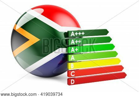South African Flag With Energy Efficiency Rating. Performance Certificates In South Africa Concept.