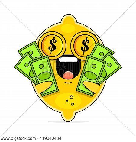 Cute Flat Cartoon Lemon Illustration. Vector Illustration Of Cute Lemon With Dollar Sign And Smillin