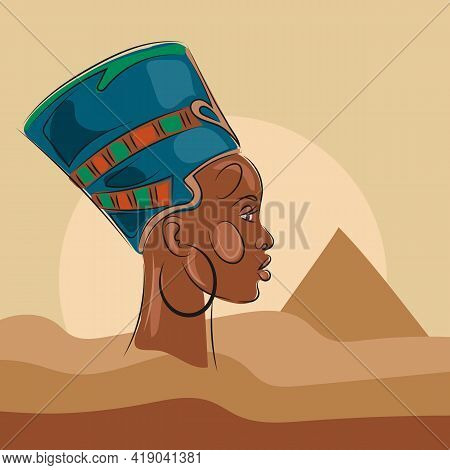 Egyptian Queen Nefertiti In African Style. Portrait Of An African Woman In Profile Against The Backg