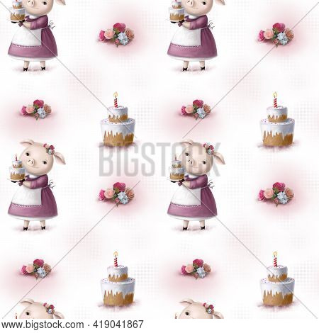 Seamless Watercolor Pattern With Piglet And Birthday Cake, Hand Drawn Clipart, Colorful Illustration