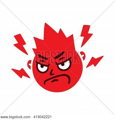 Round Abstract Face With Angry Emotion. Mad Emoji Avatar. Portrait Of A Grumpy Man. Cartoon Style. F